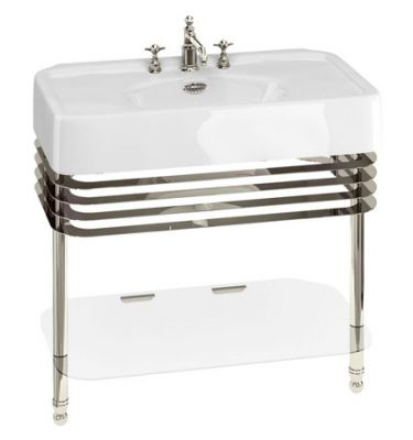 Arcade 900mm Basin and Stand with Glass Shelf - Various Tap Hole Options